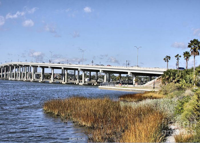 Ormond Beach Greeting Card featuring the photograph Ormond Beach Bridge by Deborah Benoit