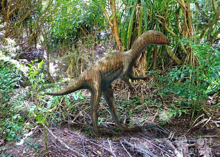 Dinosaur Art Greeting Card featuring the mixed media Othiniela In The Forest by Frank Wilson