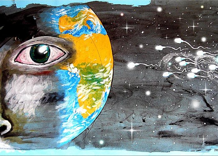 Our Cosmic Origin Greeting Card featuring the mixed media Our Cosmic Origin by Paulo Zerbato