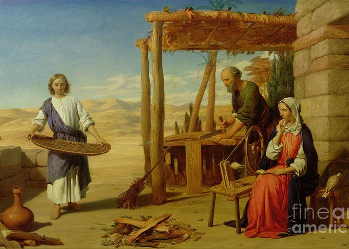Pre-raphaelite Greeting Card featuring the painting Our Saviour Subject To His Parents At Nazareth by John Rogers Herbert