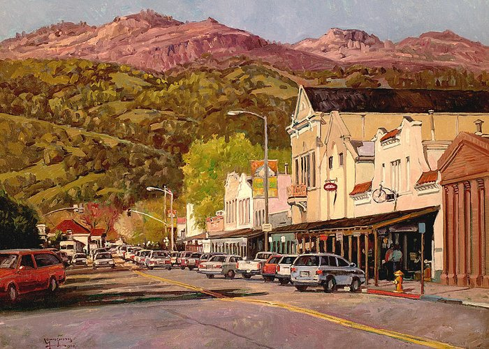 Calistoga Greeting Card featuring the painting Our Town by Paul Youngman