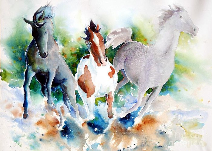 Horses Greeting Card featuring the painting Out Of Nowhere by Christie Michelsen