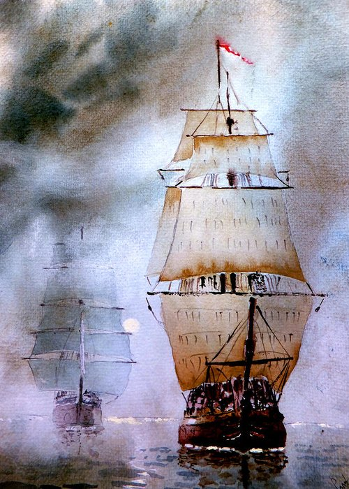 Seascape Greeting Card featuring the painting Out Of The Mist by Steven Ponsford
