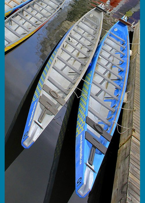 Outrigger Greeting Card featuring the photograph Outrigger Canoe Boats by Ben and Raisa Gertsberg