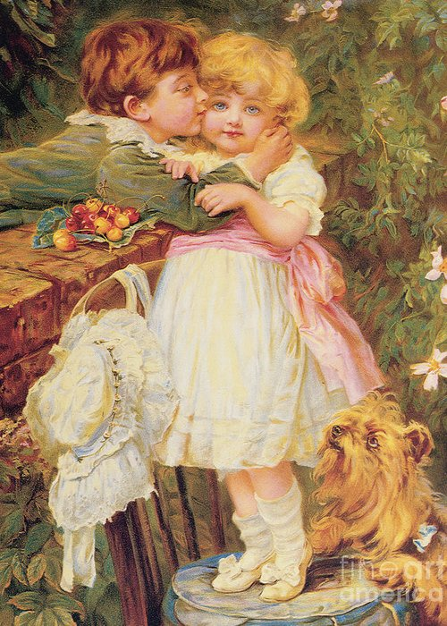 Bal9291 Greeting Card featuring the painting Over The Garden Wall by Frederick Morgan