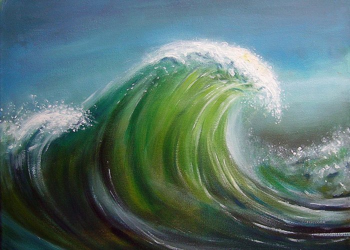 Wave Blue Green White Greeting Card featuring the painting Overpowered by Arie Van der Wijst