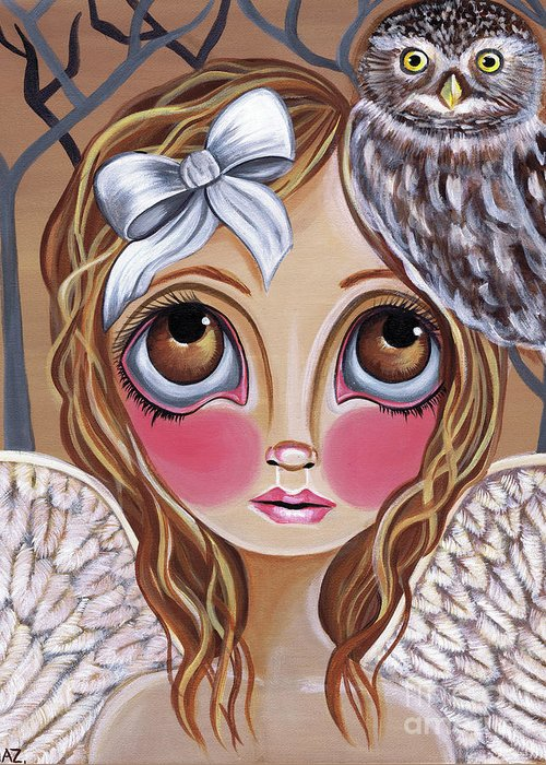Owl Greeting Card featuring the painting Owl Angel by Jaz Higgins