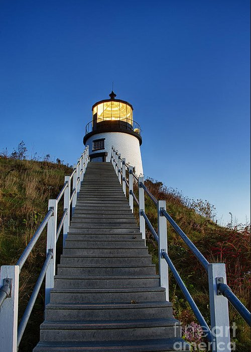 Maine Greeting Card featuring the photograph Owls Head Lighthouse by John Greim