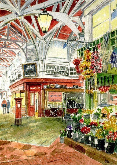 Apples Greeting Card featuring the painting Oxford's Covered Market by Mike Lester