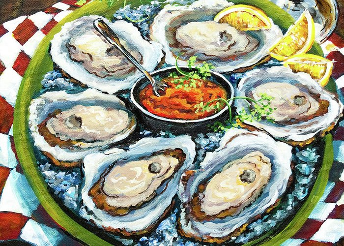 Oysters Greeting Card featuring the painting Oysters On The Half Shell by Dianne Parks