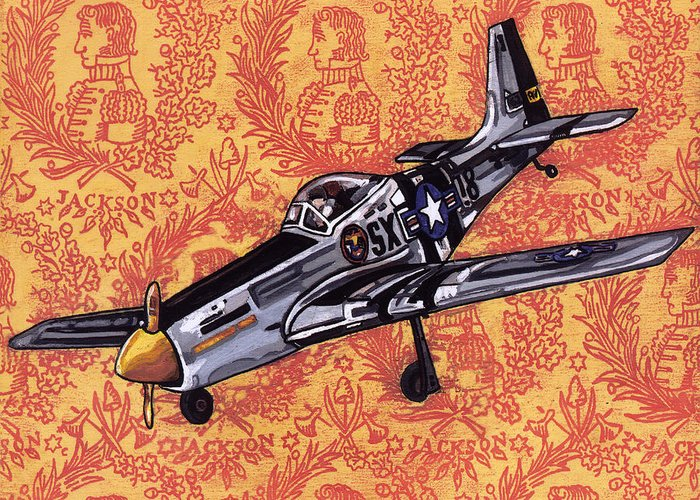 Karl Greeting Card featuring the painting P-51 by Karl Frey