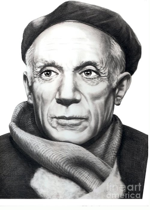 Portrait Greeting Card featuring the drawing Pablo Picasso by Murphy Elliott