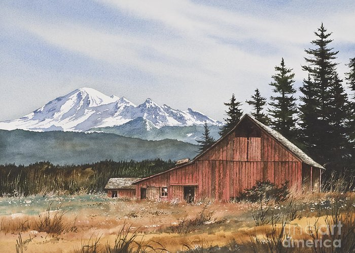 Landscape Fine Art Print Greeting Card featuring the painting Pacific Northwest Landscape by James Williamson