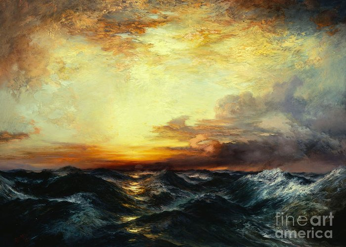 Thomas Moran Greeting Card featuring the painting Pacific Sunset by Thomas Moran