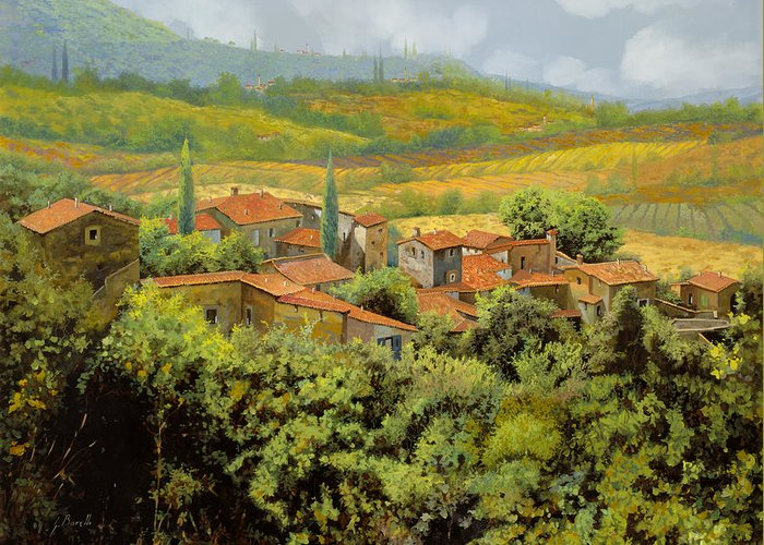 Tuscany Greeting Card featuring the painting Paesaggio Toscano by Guido Borelli