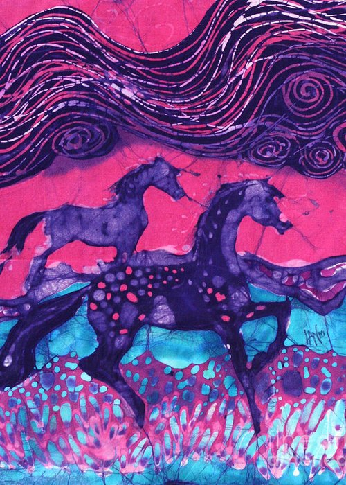 Batik Greeting Card featuring the tapestry - textile Painted Horses Below The Wind by Carol Law Conklin