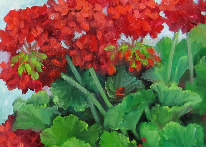 Geraniums Greeting Card featuring the painting Painting Of Red Geraniums by Cheri Wollenberg