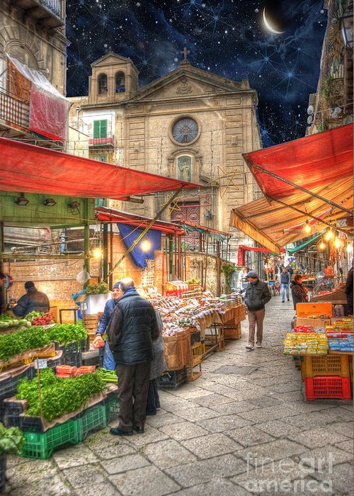 Architecture Greeting Card featuring the photograph Palermo Market Place by Juli Scalzi
