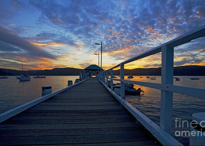 Palm Beach Sydney Wharf Sunset Dusk Water Pittwater Greeting Card featuring the photograph Palm Beach Wharf At Dusk by Avalon Fine Art Photography
