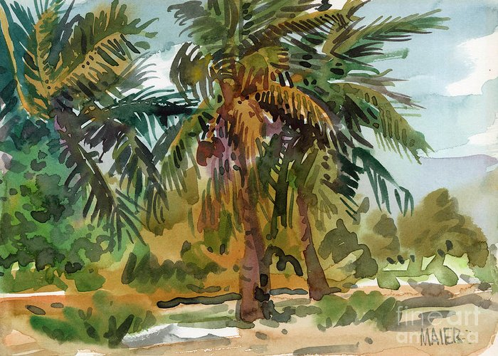 Palm Tree Greeting Card featuring the painting Palms In Key West by Donald Maier