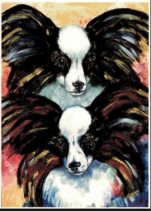 Papillon Greeting Card featuring the painting Papillon De Mardi Gras by Kathleen Sepulveda