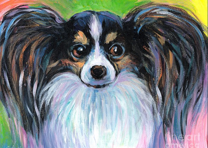 Papillon Greeting Card featuring the painting Papillon Dog Painting by Svetlana Novikova