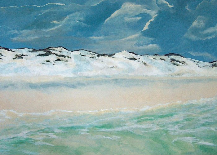 Blue Mountain Beach Greeting Card featuring the painting Paradise by Racquel Morgan