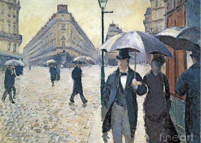 Sketch Greeting Card featuring the painting Paris A Rainy Day by Gustave Caillebotte