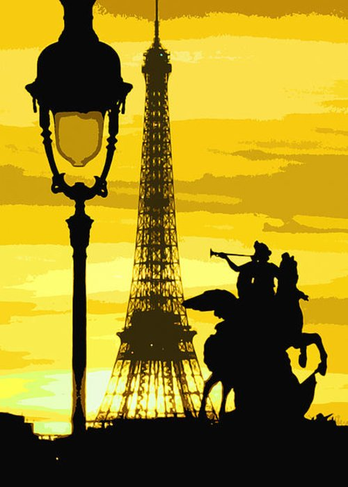 Paris Greeting Card featuring the photograph Paris Tour Eiffel Yellow by Yuriy Shevchuk