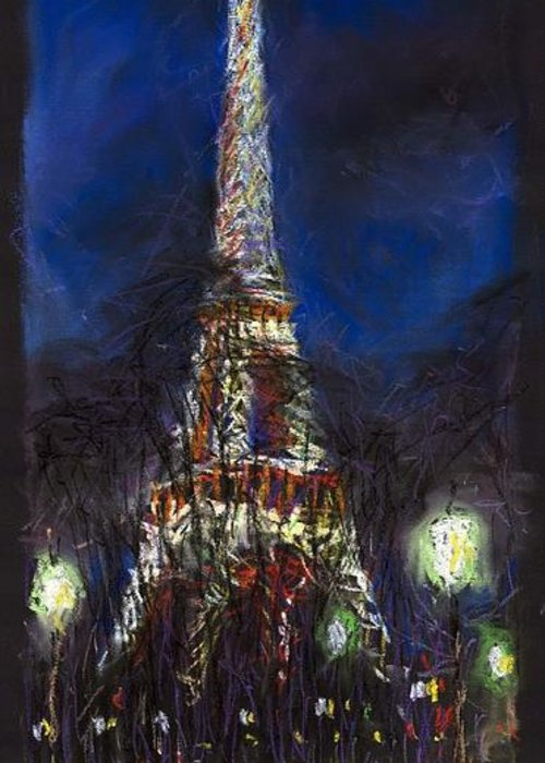 Pastel Greeting Card featuring the painting Paris Tour Eiffel by Yuriy Shevchuk