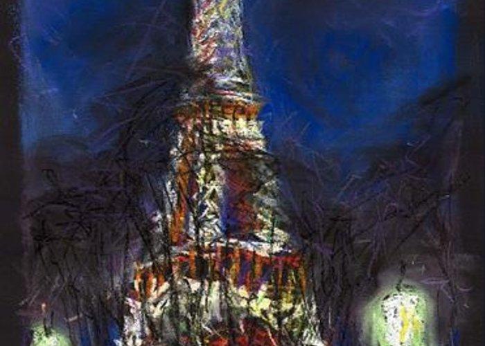Pastel Greeting Card featuring the painting Paris Tour Eiffel by Yuriy Shevchuk