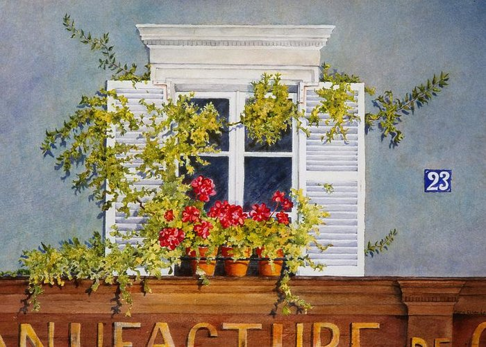 France Greeting Card featuring the painting Parisian Window by Mary Ellen Mueller Legault
