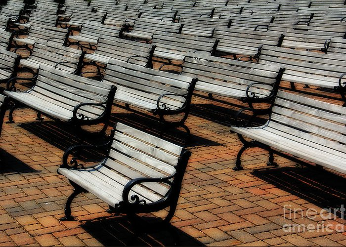 Bench Greeting Card featuring the photograph Park Benches by Perry Webster