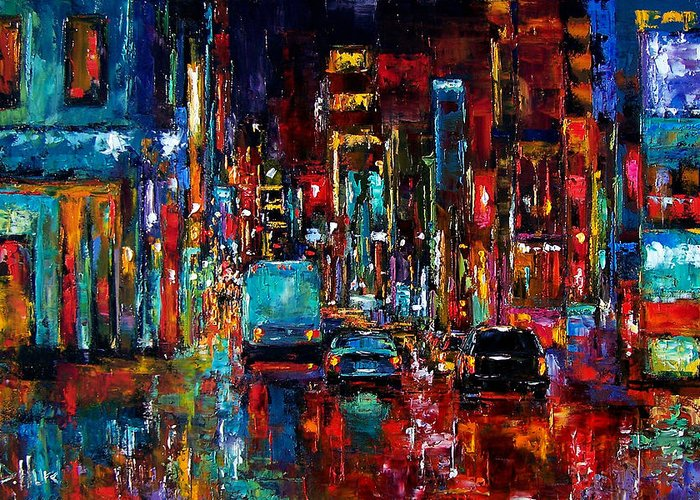 Cityscape Greeting Card featuring the painting Party Of Lights by Debra Hurd