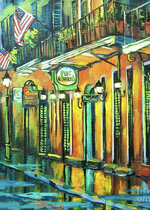 Pat Obriens Greeting Card featuring the painting Pat O Briens by Dianne Parks