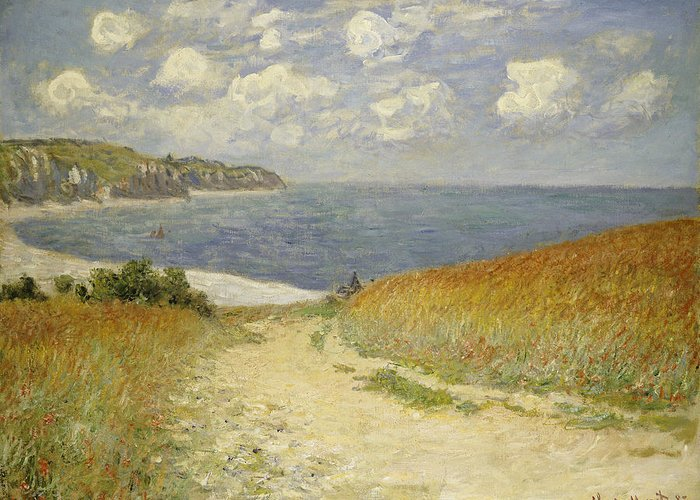 Path In The Wheat At Pourville Greeting Card featuring the painting Path In The Wheat At Pourville by Claude Monet