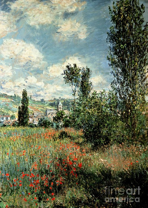 Path Greeting Card featuring the painting Path Through The Poppies by Claude Monet