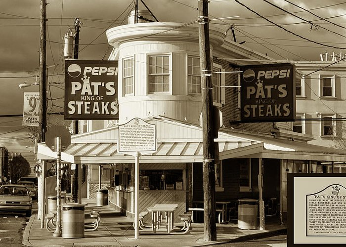 Pats King Of Steaks Greeting Card featuring the photograph Pat's King Of Steaks - Philadelphia by Bill Cannon