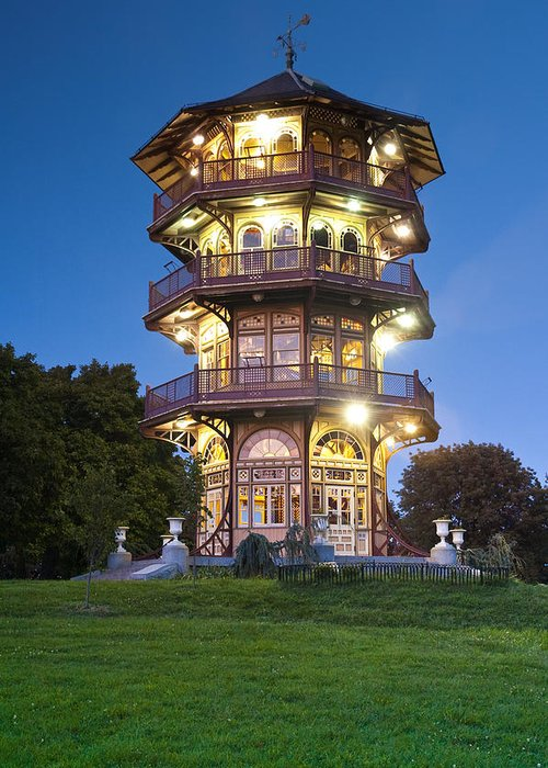 Patterson Park Pagoda Baltimore Maryland Historic Architecture Light Color Building Obervatory Observation Tower Windows Japanese Landmark Highlandtown Nature Conservation Victorian Old Twilight Color Latrobe Greeting Card featuring the photograph Patterson Park Pagoda. Baltimore Maryland by Matthew Saindon