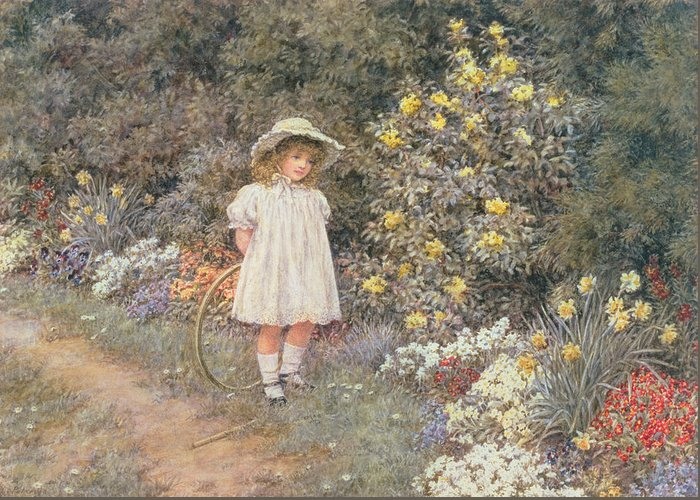 Hoop; Cerceau; Child; Little Girl; Garden; Flowers Greeting Card featuring the painting Pause For Reflection by Helen Allingham
