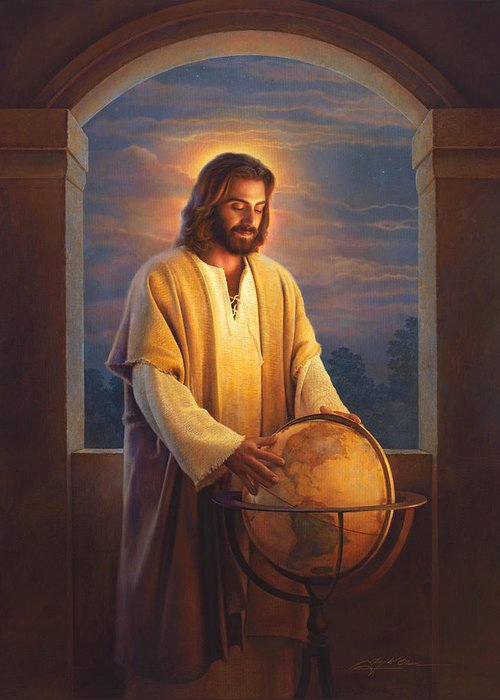Jesus Greeting Card featuring the painting Peace On Earth by Greg Olsen