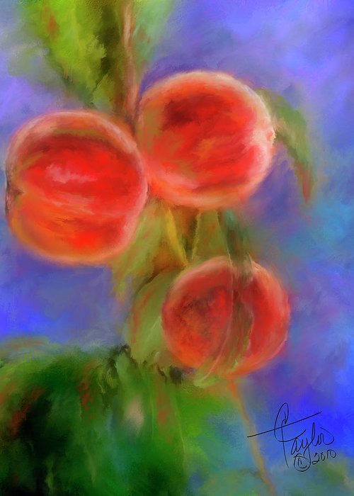 Peaches Greeting Card featuring the painting Peachy Keen by Colleen Taylor