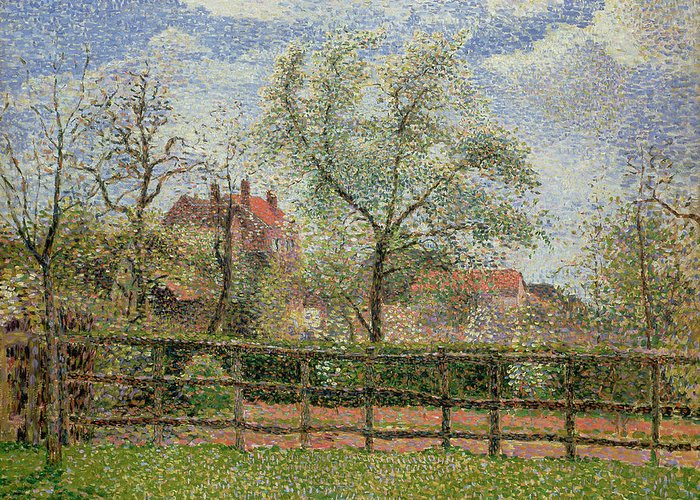 Pear Trees And Flowers At Eragny Greeting Card featuring the painting Pear Trees And Flowers At Eragny by Camille Pissarro