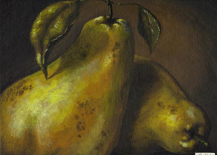 Still Life Greeting Card featuring the painting Pears by Adam Zebediah Joseph