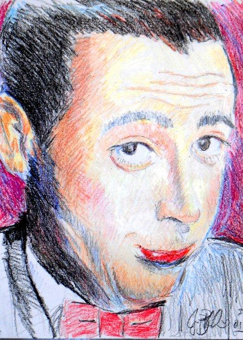 Pee Wee Greeting Card featuring the drawing Pee Wee Herman by Jon Baldwin Art