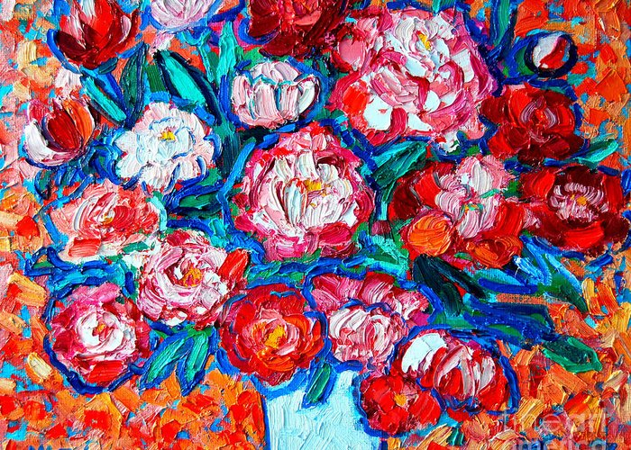 Peonies Greeting Card featuring the painting Peonies Bouquet by Ana Maria Edulescu