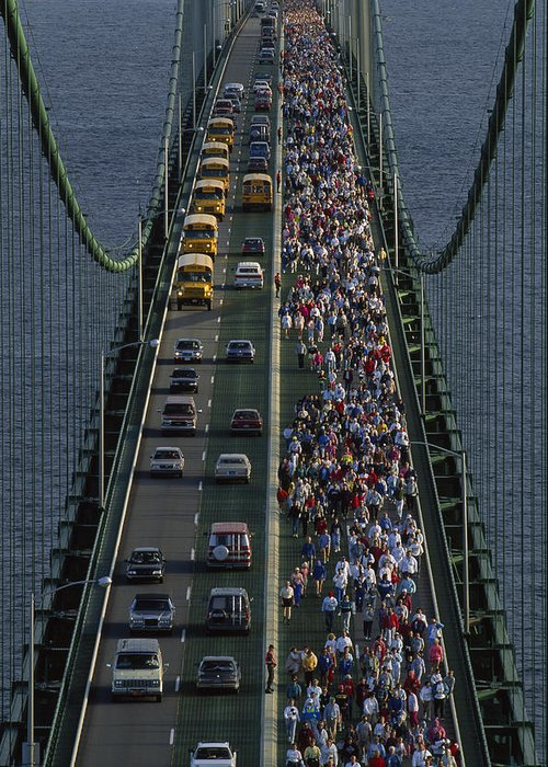 Mackinac Bridge Greeting Card featuring the photograph People Participating In The Annual by Phil Schermeister