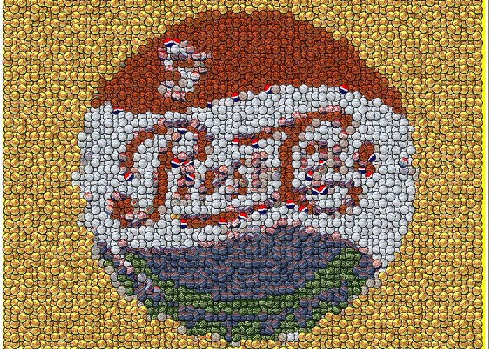 Pepsi Greeting Card featuring the digital art Pepsi Bottle Cap Mosaic by Paul Van Scott