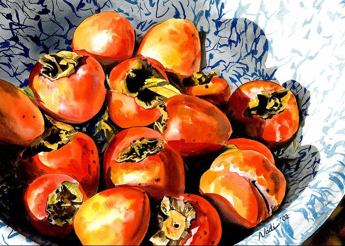 Food Greeting Card featuring the painting Persimmons by Nadi Spencer