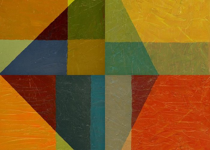 Abstract Greeting Card featuring the painting Perspective In Color Collage by Michelle Calkins